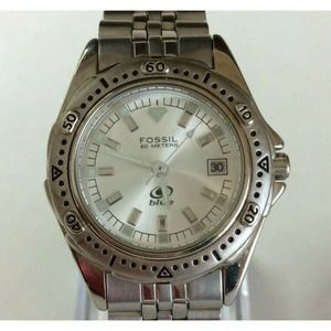 Fossil Blue Ladies Watch Silver Tone New Battery